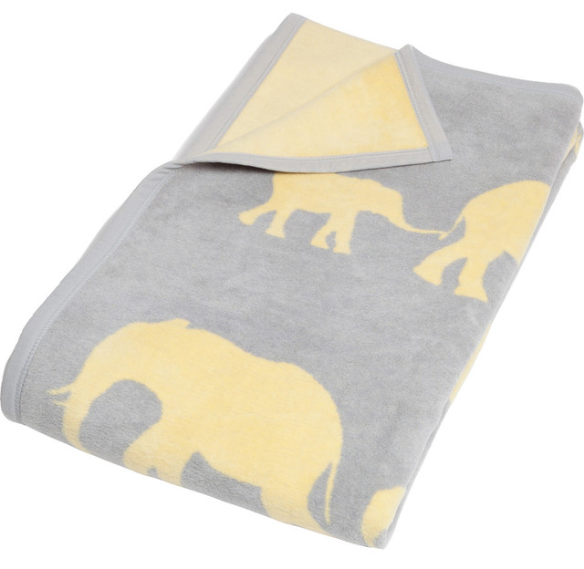 Elephant Throw Blanket Gray And Yellow Contemporary