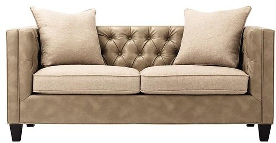 Lakewood leather tufted sofa traditional sofas for Traditional tufted leather sofa