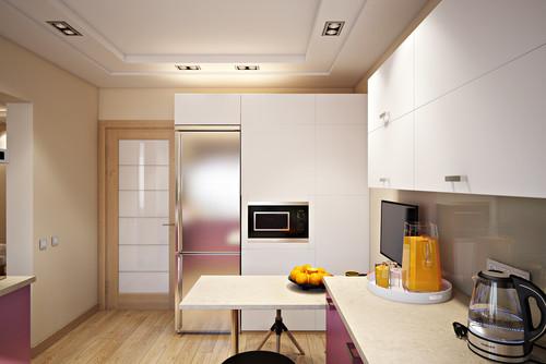 холодильник отдельный на кухне современного интерьера