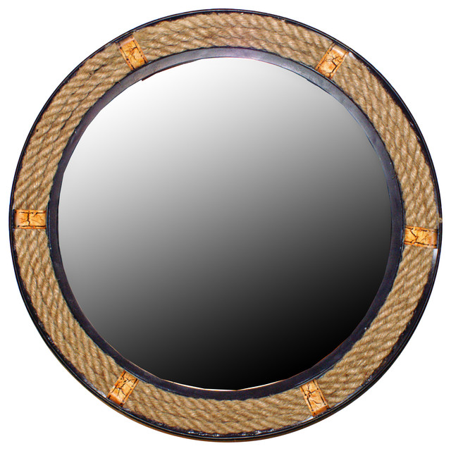 rope framed round wall mirror large beach style wall mirrors by wilco home. Black Bedroom Furniture Sets. Home Design Ideas