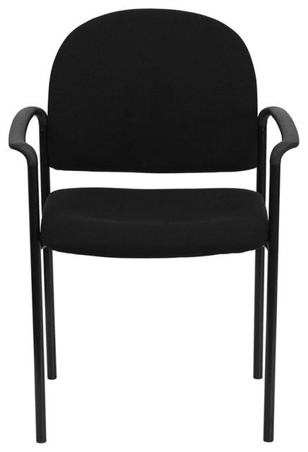 Black Fabric Comfortable Stackable Steel Side Chair With