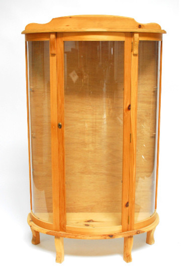 Pine Bow Front Curio Display Cabinet
