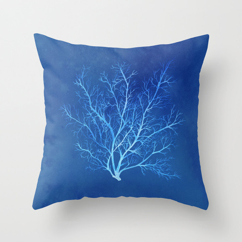blue coral seafan pillow cover bord de mer coussin. Black Bedroom Furniture Sets. Home Design Ideas