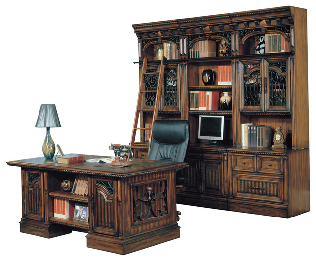 Barcelona Home Office Executive Desk With Library Wall