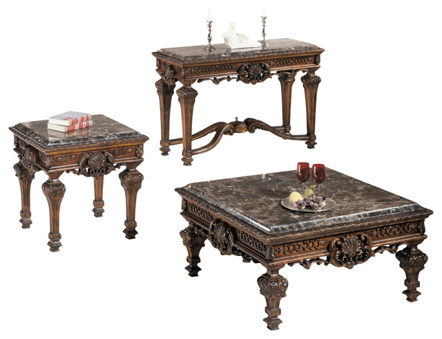 Casa Mollino Occasional Table Set Dark Brown Traditional Side Tables And End Tables By