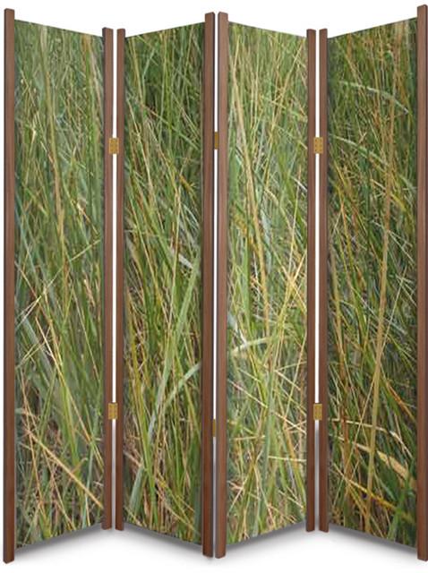 Grassy Meadow Nature Theme Folding Partition Cedar