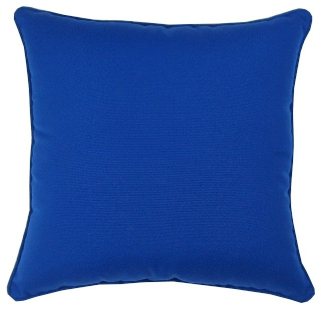 True Modern Pillows : Sunbrella Canvas True Blue - 18X18 Indoor / Outdoor Throw Pillow - Contemporary - Outdoor ...