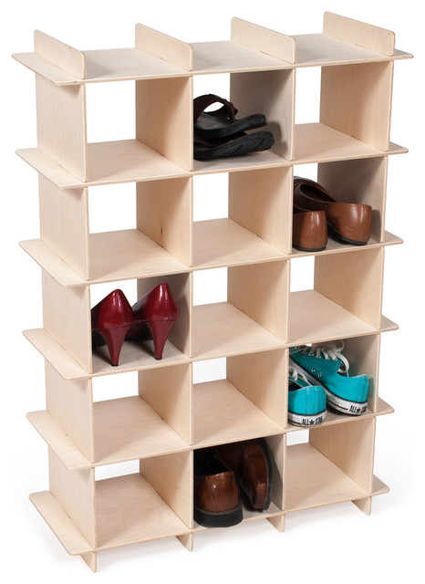 Wood Shoe Cubby Contemporary Shoe Storage By Sprout Quark