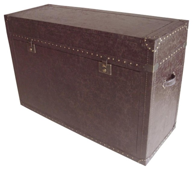 """Ellis Trunk Aged Cigar Leather TV Lift Cabinet For Flat Screen TV's Up To 46"""" - Eclectic ..."""