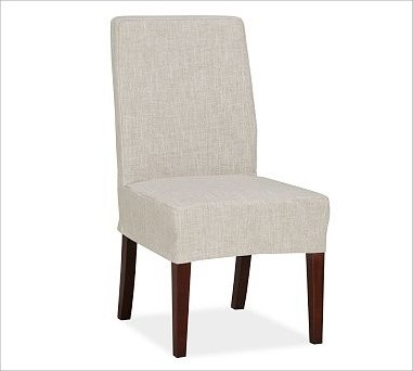 Napa Side Chair Slipcover Short Length Grainsack Flax