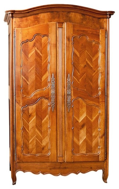 French Armoire In Cherry With Chevron Panels, C. 1850
