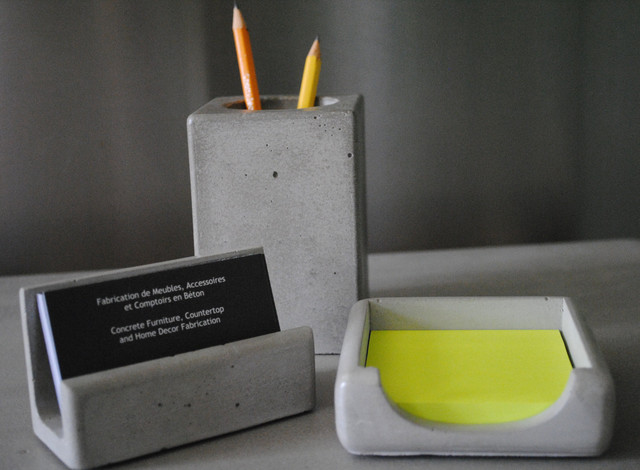 Concrete office series contemporary desk accessories for Modern office decor accessories