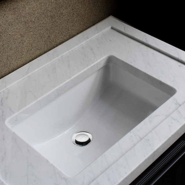 Highpoint collection ceramic 18x12 inch undermount vanity sink white contemporary bathroom - Designer bathroom sinks basins ...