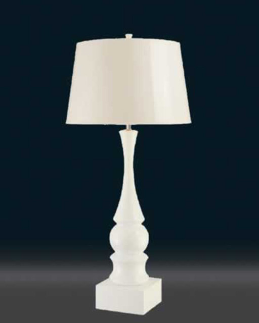 fabric table lamp with elegantly carved white pole modern table lamps. Black Bedroom Furniture Sets. Home Design Ideas