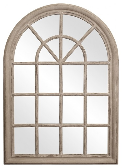 Fenetre arched rustic windowpane style mirror rustic wall for Fenetre decorative