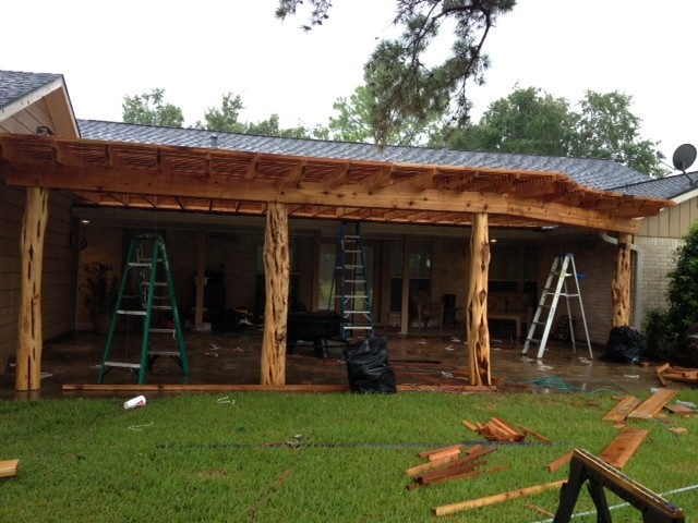 Pergola with custom cedar posts rustic houston by lone star