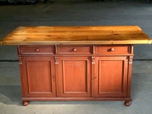 Rustic Barn Red Kitchen Island With Farm Table Top farmhouse kitchen