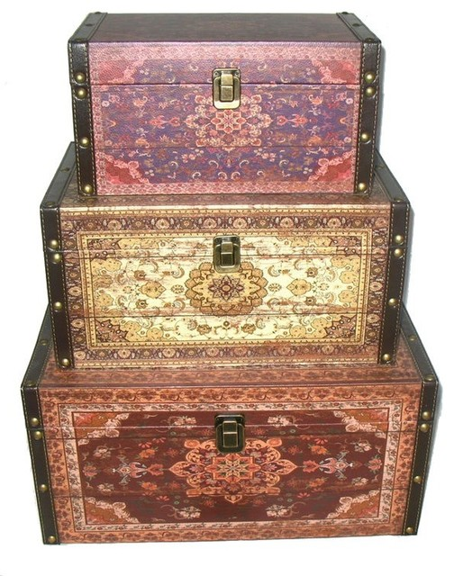 Oriental-Style Earth Tones Decorative Storage Boxes, Red