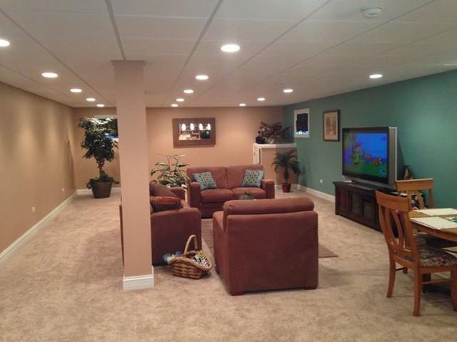 living area in basement modern chicago