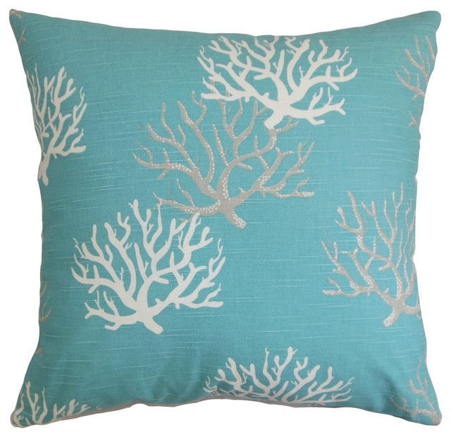Beach Style Pillows : Hafwen Coastal Pillow, Blue - Beach Style - Decorative Pillows - by The Pillow Collection