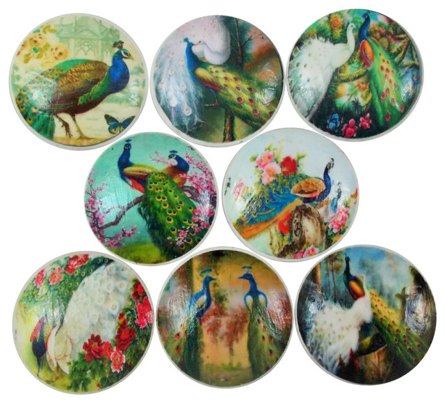 Set of 8 Peacock Cabinet Knobs - Traditional - Cabinet And ...