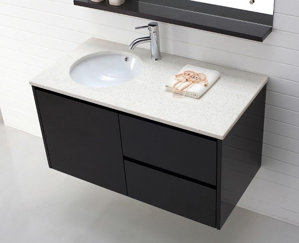 Stainless steel south beach vanity console in black 48 for Bathroom consoles and vanities