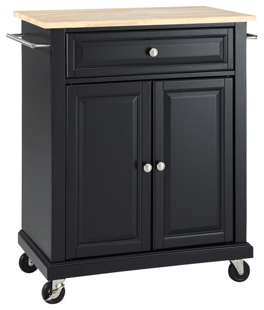 natural wood top portable kitchen cart island in black finish classique lot et desserte de. Black Bedroom Furniture Sets. Home Design Ideas