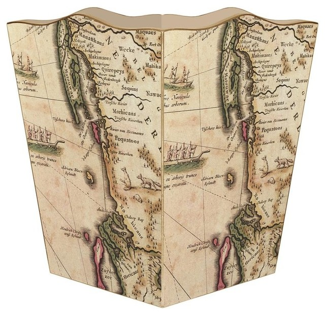 Antique-Style New England Map Wastepaper Basket - Traditional - Wastebaskets - by Marye-Kelley