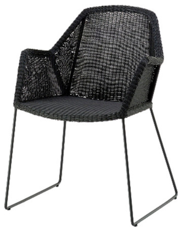 Cane Line Breeze Dining Chair Sled Base Black Natural Contemporary Outdoo