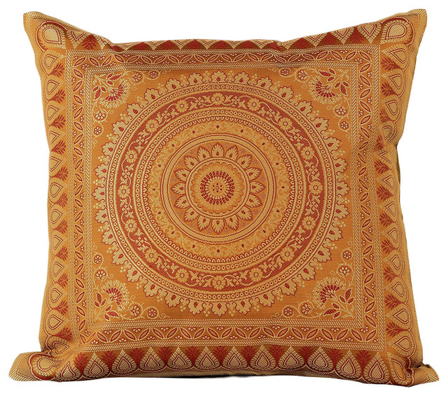 Exotic Oriental Pillow Cover, Set of 2 (Amber) - Asian - Decorative Pillows - by Banarsi Designs