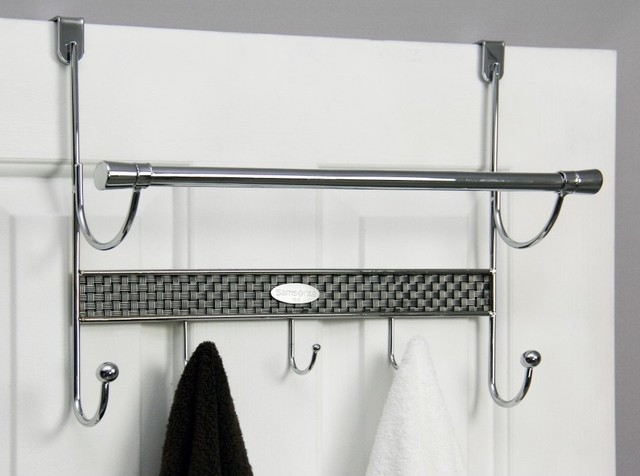 Over The Door 5 Hook Chrome Towel Rod Contemporary Towel Bars And Hooks