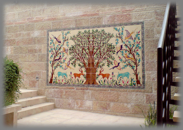 Fox residence landscape hand painted ceramic tile mural for Ceramic mural designs