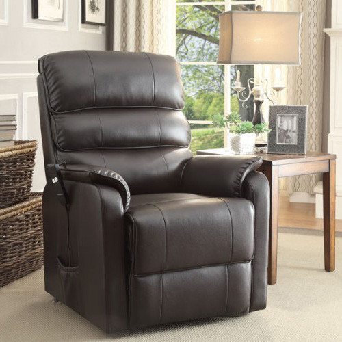 power lift chair in dark brown leather contemporary recliner chairs