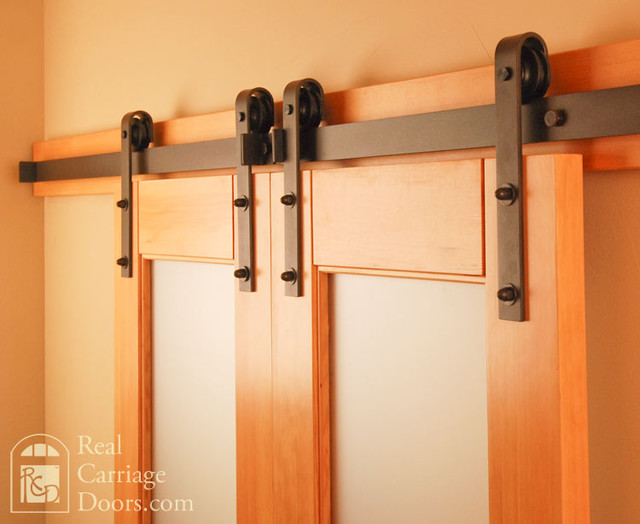 Classic flat track barn door hardware traditional for Real carriage hardware
