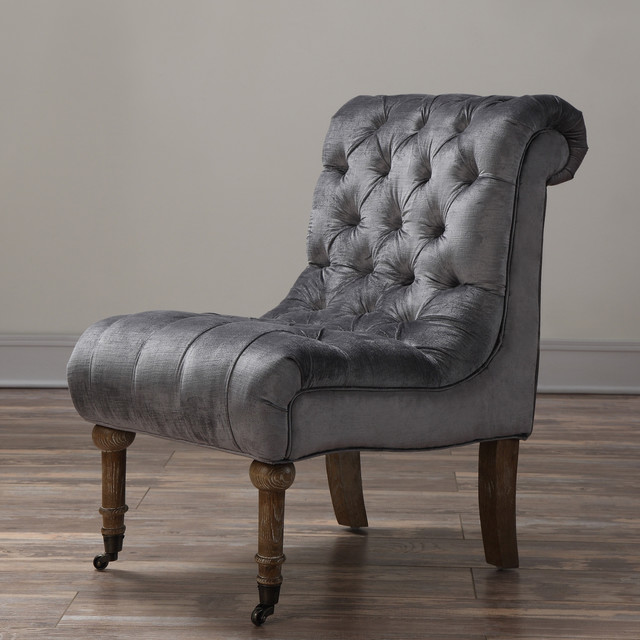 Vivi Grey Velvet Slipper Chair Contemporary Armchairs