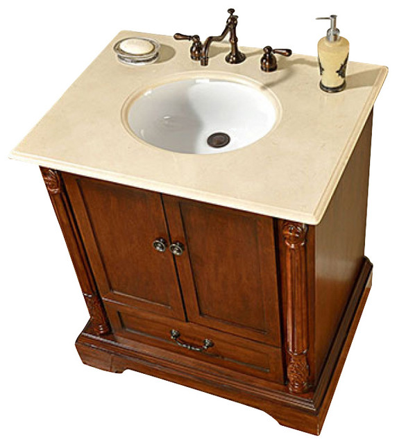 32 inch traditional single sink bathroom vanity for Bathroom consoles and vanities
