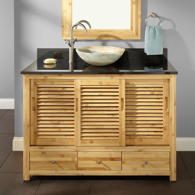 48 Arrey Bamboo Vessel Sink Vanity Modern Bathroom Vanities And Sink Consoles