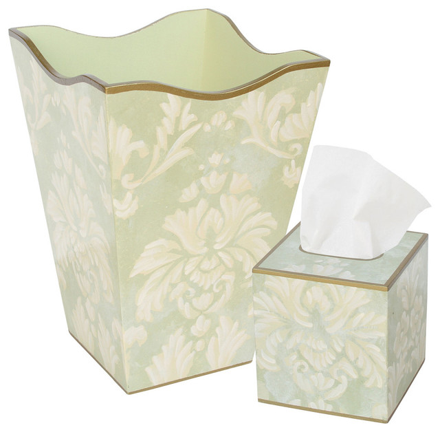 Allen g designs elegant motif wastebasket and tissue box set mediterranean wastebaskets - Elegant wastebasket ...