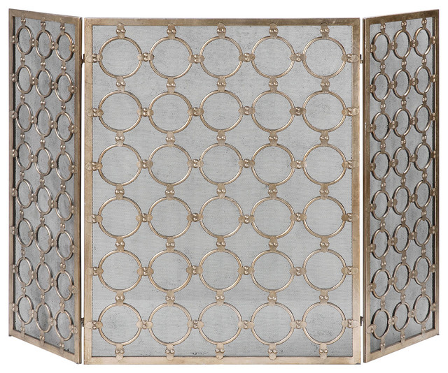 Uttermost Mia Silver Fireplace Screen 19916 Traditional Fireplace Screens