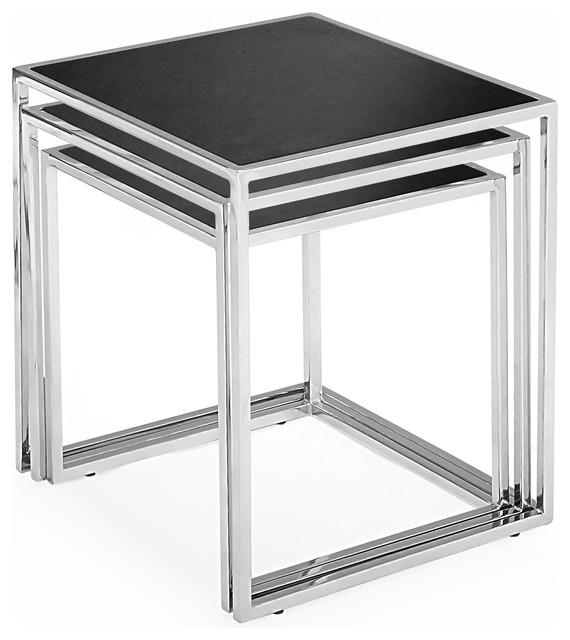 Bloc Nesting Tables In Black Glass Modern Side