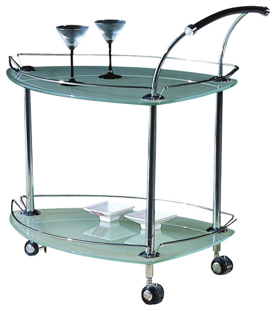Triangular Rolling Tea Cart with Frosted Glass and Silver Finish - Contemporary - Bar Carts - by ...