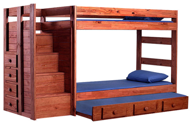 Boat Bed With Trundle And Toy Box Storage: Hemet Extra Long Twin Over Twin Stairway Bunk Bed With