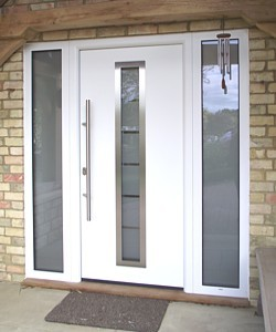 White front entry door for your home color ideas for for Contemporary upvc front doors