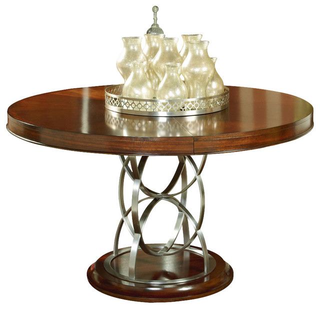 Motif round pedestal dining table in walnut contemporary dining tables