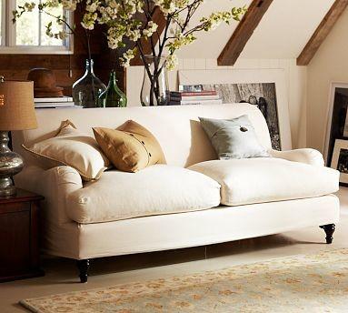 carlisle slipcovered sofa down blend wrap cushions performance tweed ecru traditional. Black Bedroom Furniture Sets. Home Design Ideas