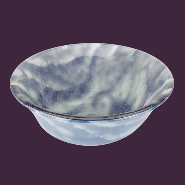 Blue And White Vessel Sink : Vessel Sinks Blue/White Glass Cirrus Clouds Barrel Vessel Sink modern ...