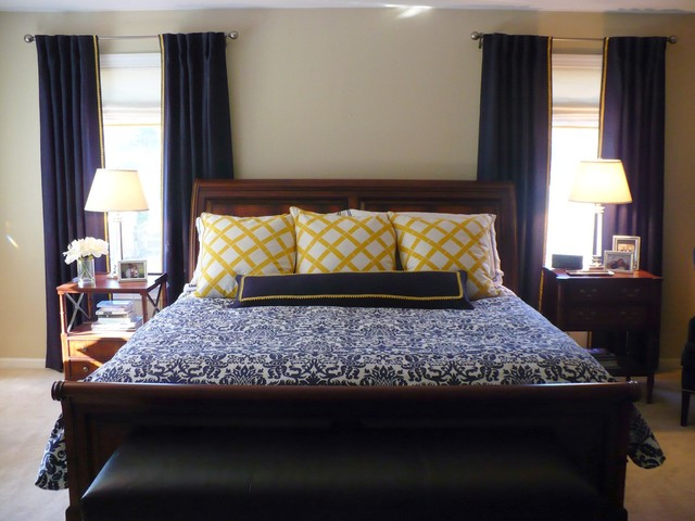 Navy And Gold Bedside Lamps: Navy Master Bedroom With Gold Accents