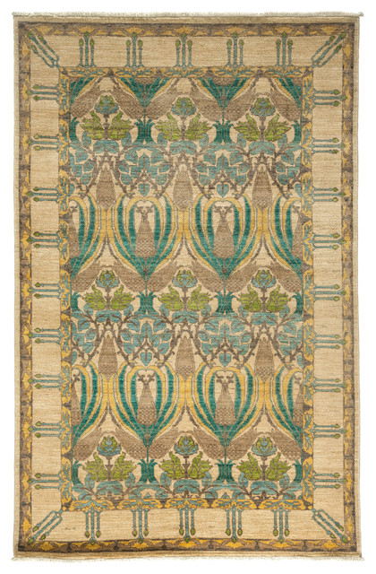 arts and crafts wool area rug ivory 5x8 victorian. Black Bedroom Furniture Sets. Home Design Ideas