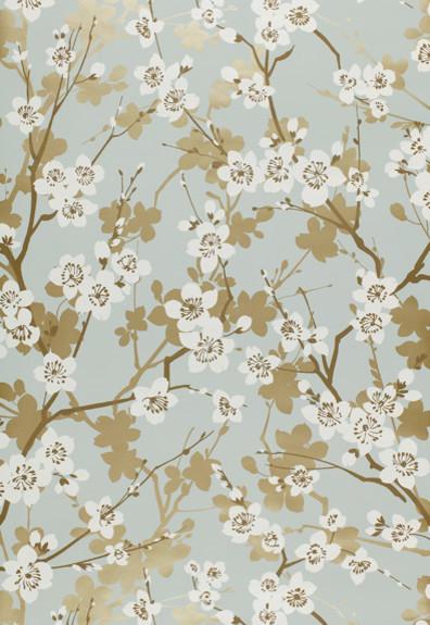 Ming Cherry Blossom Aqua Wallpaper By F Schumacher Amp Co