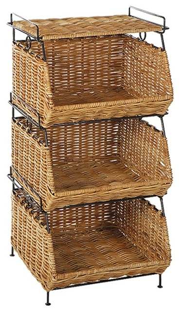 Stackable Filing Rattan Baskets In Natural Contemporary